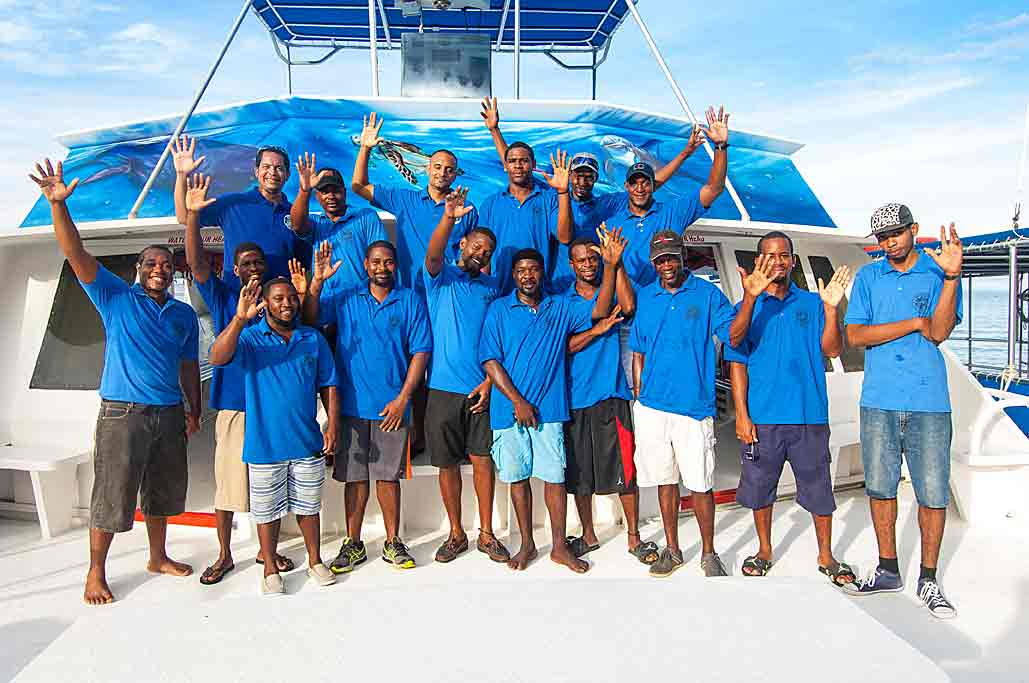 a group shot of the Dive Dominica staff